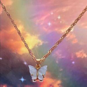 Light blue butterfly necklace